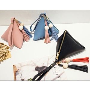 NEW Triangle Tassel Wristlet Clutch Bag